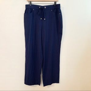 NWT JM COLLECTION Navy Crinkle Drawstring Pants